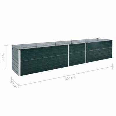 vidaXL Градинска висока леха поцинкована стомана 400x80x77 см зелена