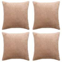 vidaXL Калъфки за възглавници, 4 бр, велур, 50x50 см, бежови