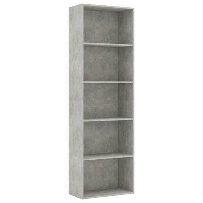 vidaXL 5-етажна библиотека, бетонно сива, 60x30x189 см, ПДЧ