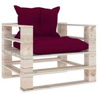 vidaXL Градински палетен диван с виненочервени възглавници, бор