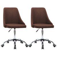 vidaXL Офис столове на колелца, 2 бр, текстил, кафяви
