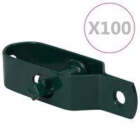 vidaXL Обтегачи за телена ограда, 100 бр, 100 мм, стомана, зелени