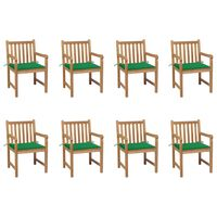 vidaXL Градински столове, 8 бр, зелени възглавници, тиково дърво масив