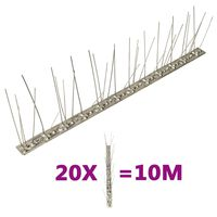 vidaXL 5-редови иноксови шипове срещу птици и гълъби, 20 бр, 10 м