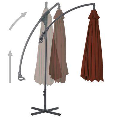 vidaXL Градински чадър чупещо рамо и стоманен прът 250x250 см теракота