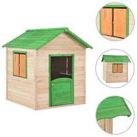vidaXL Детска къща за игра, чамова дървесина, зелена