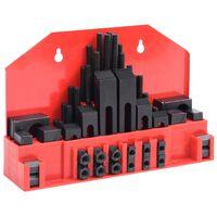 vidaXL Комплект за закрепване на детайли 58 бр стомана за T-канал M10