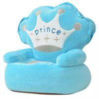 vidaXL Плюшен детски стол, Prince, син