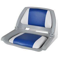 Седалка за лодка със сгъваема облегалка и синьо-бяла възглавница