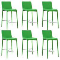 vidaXL Бар столове, 6 бр, зелени, изкуствена кожа