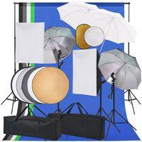 vidaXL Фотографски комплект със софтбокс, чадъри, фон и рефлектор