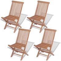 vidaXL Сгъваеми градински столове, 4 бр, тиково дърво масив