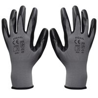 vidaXL Работни ръкавици, от нитрил, 24 чифта, сиво и черно, размер 8/M
