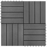 WPC декинг плочки за 1 кв. м, 11 бр, 30 x 30 см, сиви