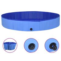 vidaXL Сгъваем басейн за кучета, син, 300x40 см, PVC