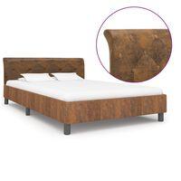 vidaXL Рамка за легло, кафява, изкуствен велур, 140x200 см