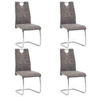 vidaXL Трапезни столове, 4 бр, кафяви, изкуствена кожа