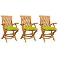 vidaXL Градински столове с яркозелени възглавници 3 бр тик масив