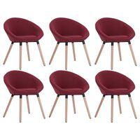 vidaXL Трапезни столове, 6 бр, виненочервени, плат