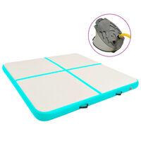 vidaXL Надуваем дюшек за гимнастика с помпа, 200x200x10 см, PVC, зелен