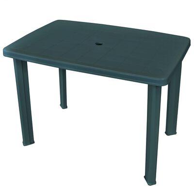 vidaXL Градинска маса, зелена, 101x68x72 см, пластмаса