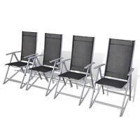 vidaXL Сгъваеми градински столове, 4 бр, алуминий