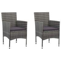 vidaXL Градински трапезни столове, 2 бр, полиратан, сиви