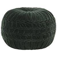 vidaXL Пуф, памучно кадифе, дизайн с набори, 40х30 см, зелен