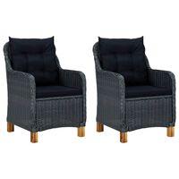 vidaXL Градински столове с възглавници, 2 бр, полиратан, тъмносиви