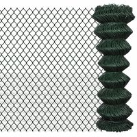vidaXL Плетена оградна мрежа, стомана, 1,25x15 м, зелена