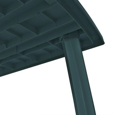 vidaXL Градинска маса, зелена, 210x96x72 см, пластмаса