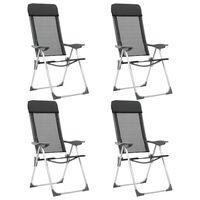vidaXL Сгъваеми къмпинг столове, 4 бр, черни, алуминий