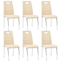 vidaXL Трапезни столове, 6 бр, кремави, изкуствена кожа