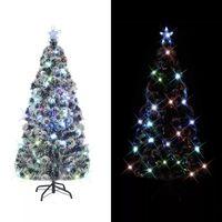 vidaXL Изкуствено коледно дърво със стойка/LED, 180 см, оптично влакно