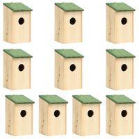 vidaXL Къщи за птици, 10 бр, чам масив, 12x12x22 см