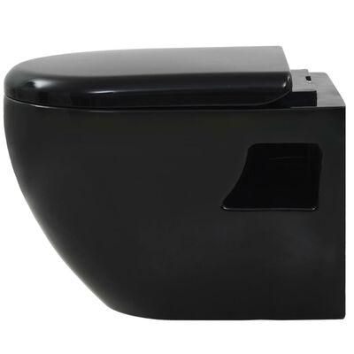 vidaXL Окачена тоалетна чиния, със скрито казанче, керамична, черна