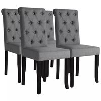 vidaXL Трапезни столове, 4 бр, тъмносиви, текстил
