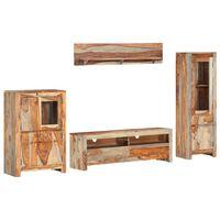 vidaXL Комплект ТВ мебели от 4 части, шишамово дърво масив