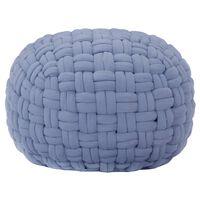 vidaXL Пуф, сплетена конструкция, син, 50x35 см, памук