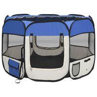 vidaXL Сгъваема кучешка кошара с чанта за носене, синя, 90x90x58 см