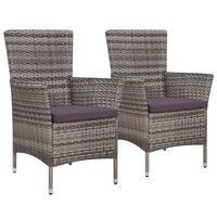 vidaXL Градински столове с възглавници, 2 бр, полиратан, сиви