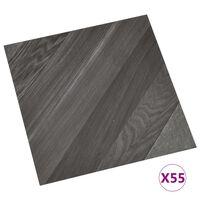 vidaXL Самозалепващи подови дъски, 55 бр, PVC, 5,11 м², сиви на ивици