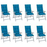 vidaXL Градински накланящи столове възглавници 8 бр сиви акация