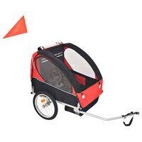 vidaXL Детско ремарке за велосипед, червено и черно, 30 кг