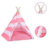vidaXL Котешка палатка Типи с чанта, peach skin, на ивици, 60x60x70 см