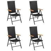 vidaXL Градински столове, 4 бр, полиратан, черни