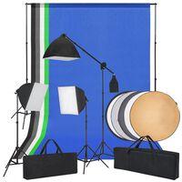 vidaXL Комплект за фото студио със софтбоксове, фонове и рефлектор