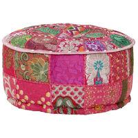 vidaXL Пачуърк кръгъл пуф, памук, ръчна изработка, 40x20 см, розов