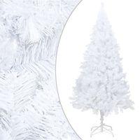 vidaXL Изкуствено коледно дърво с плътни клонки, бяло, 240 см, PVC