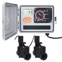 vidaXL Градински програматор за напояване с 2 електромагнитни клапана